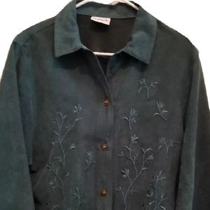 Green Suede Embroidered Button Down (H312)